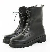 Kids Children Army BLACK Military Tactical Leather Combat Boots SWAT Shoes NEW
