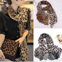 Women Animal Leopard Print Chiffon Long Neck Scarf Wrap Shawl Stole Soft Scarves