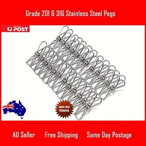 Stainless Steel Pegs in Quantities 24, 34 & 44, Quality 201/316 Stainless Steel