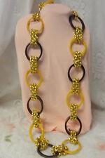 Vtg Huge Bakelite Chunky Runway Long Fashion Gold Tone Link Chain Necklace Belt