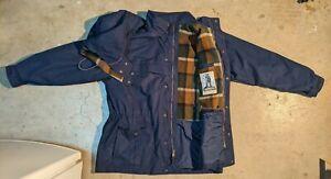Eddie Bauer Mens XL Blue Wool Lined Mountain Parka Raincoat Jacket Heavyweight