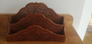Vintage Rustic Carved Wooden Letter Rack Desk Organiser Shabby Chic Boho Ethnic