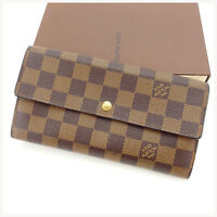 Louis Vuitton Wallet Purse Bifold Damier Brown Woman Authentic Used Y3190