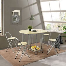 Butterfly Folding 5 Piece Dining Set Wood &  Metal 4 Chairs & Table w/ Wheels