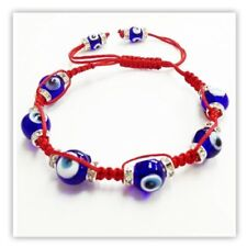 Evil Eye Rope bracelet with blue glass eyes and RED string #2720