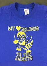 True Vintage 80s My Heart Belongs To The Yellow Jackets Graphic Blue T-Shirt XL