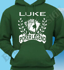 Personalised Poker T-Shirt Name Of Choice Hoody Mens Gift Idea Hoodie Legend