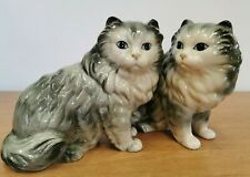 Large Pair of Grey Cat Figurines -7 inches tall- (D5)