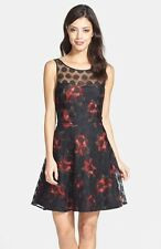 NWT $138 - BETSEY JOHNSON Floral Polka Dot Mesh Fit & Flare Dress, Black, Size 8