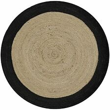 BEIGE BLACK FLOWER BRAIDED NATURAL JUTE ROUND FLOOR RUG 100x100cm **NEW**