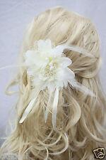 Haarschmuck Blüte mit Haarclip und Gummi, Brautschmuck 12cm Federblume creme