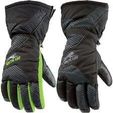 Arctic Cat Youth 100 gram Insulated Leather Palm High Cuff Gloves - Green Black