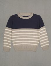 Adorechic Boy's screw neck long sleeve soft sweater blue & gray size 5T
