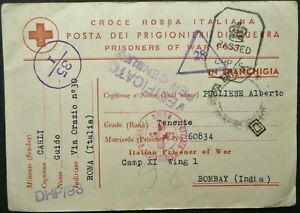 ITALY WWII RED CROSS POSTAL CARD FROM ROME TO PRISONER OF WAR IN BOMBAY, INDIA