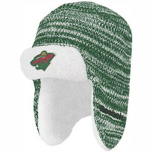 MINNESOTA WILD Trapper Knit Beanie Hat Ski Cap with Fleece Lining NWT