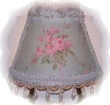 French Inspired Cottage Chic Pink Shabby Rose Bouquet Minty-Green NIGHT LIGHT