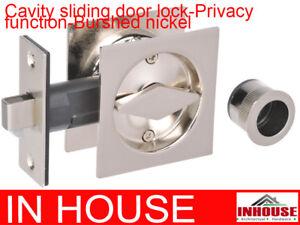 Cavity Sliding door Lock privacy function squre brushed nickel finish