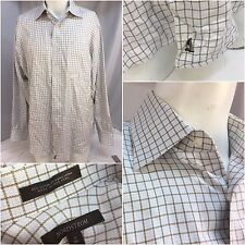 Nordstrom Shirt 16 34 White Tan Check Organic Cotton Hong Kong EUC YGI 4647