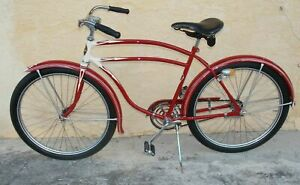 """1940's Rollfast Men Bicycle Red Restored Wheels 26"""" Skip-Tooth Antique Americana"""