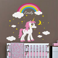 Unicorn Rainbow Wall Decal, Personalized Name Decal, Pony Stars Girls Room Decor