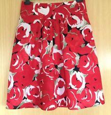 Laura Ashley Ladies Skirt 10 Summer Casual Flower 100% Linen Holiday Work Smart
