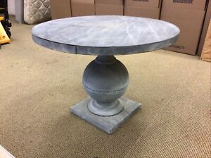 "ICONIC Crate & Barrel Zinc Round Center Dining Table 39.5"" Wide 29"" Tall"