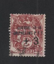 Orphelins de guerre timbre de France + 3 sur 2 c Blanc oblitéré