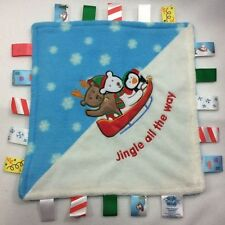 Little Taggies Jingle Bells Lovey Security Blanket 12 x 12 Winter Sleigh Snow