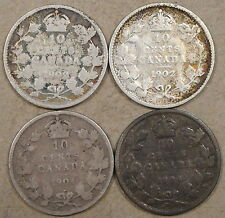 Canada 1902,02-H,04,+05 Ten Cents Low Grades as Pictured