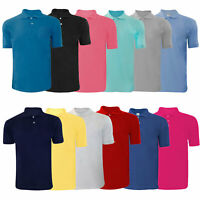 Men's Polo Shirts Polycotton Fabric Palin Short Sleeve Ribbed t-shirt