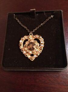Vintage Heart Pendant, 18 Inch Chain, 1960s Costume Jewellery In Original Box