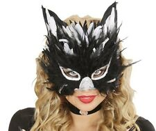 Black Feathered Venetian Cat Eye Mask Masked Masquerade Ball Fancy Dress