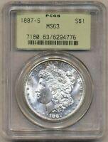 1887-S Morgan PCGS MS-63 Uncirculated Silver Dollar Coin San Francisco Mint OGH