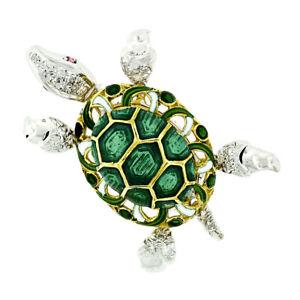 Vintage 18k Two Tone Gold 0.46ctw Diamond Ruby Eye Enamel Turtle Tortoise Brooch