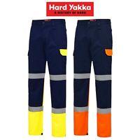 Mens Hard Yakka Cargo Bio Motion Pants Taped Hi-Vis Fluro Work Safety Job Y02870