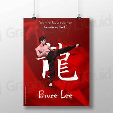 Bruce Lee motivacionales flujo de agua cita famosa Cartel * Laminado opción * A4 A3
