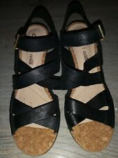 New, Ladies Genuine Black Leather Sandals By Clarks Plus Cushion Size 4