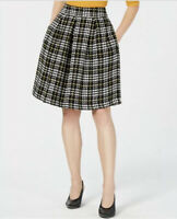 NWT MAISON JULES Black Plaid Pleated A-Line Knee Length Bold Swingy Skirt Size 6