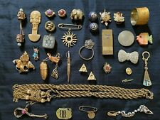 Antique Vintage Deco Retro Designer Gold Tone Collectibles Costume Jewelry Lot
