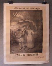 Paul et Virginie opéra affiche poster lithographie XIXème siècle