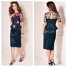 Kaleidoscope Size 18 Simply Navy Peplum Lace Embroidered DRESS Races £99 Party