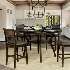 Solid Wood Counter Height Dining Room Set 5 Pc Leatherette Seat Curved Table Top