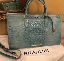 Brahmin Anywhere Weekender Astral Melbourne Travel Bag NWT $425 Turquoise Blue