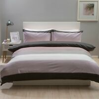 100% Brushed Cotton Check Modern Striped Duvet Set in Mulberry & Grey King Bed
