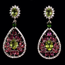 Chandeliers with Rhodolite Diopside and Peridot White Gold from 925