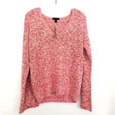 J Crew Womens Large Pink Rose Flared Sleeve Marled Swing V Neck Pullover Sweater
