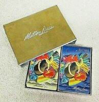 Vintage Matson Lines Double Deck Playing Cards in Box Ukulele & Flowers T80