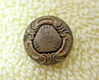 Antique Gold Tone Fancy Cut Metal Button 1/2 Inch