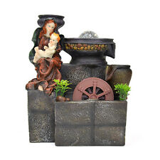 Virgin Mary Baby Jesus Basin Brick Indoor Tabletop Water Fountain LED Light