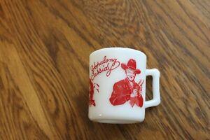 Vintage 1950s RED Hopalong Cassidy Childs Milk Mug Cup Hazel Atlas White Glass
